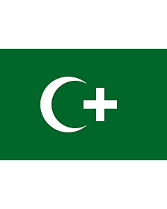 Flag: The revolution flag of Egypt from 1919. It bears a crescent and cross to demonstrate that both Muslims and Christians supported the Egyptian nationalist movement against British occupation