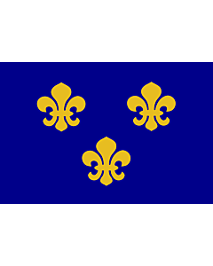 Flag: Medieval France   Present day s Île-de-France In 1328, the coat-of-arms of the House of Valois was blue with gold fleurs-de-lis bordered in red